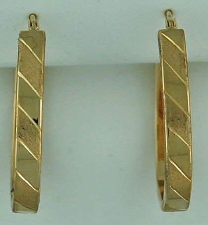 Ladies Yellow Gold Patterned and Textured Hoop Earrings