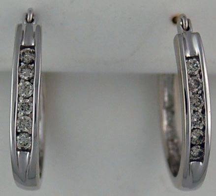 3/8ctw White Gold and Diamond Hoop Earrings