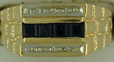 Gentleman's Diamond and Sapphire Nugget Band