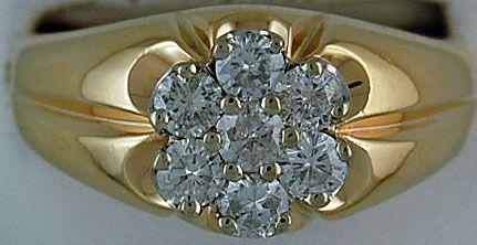Gentleman's 1-1/4ctw Cluster Ring