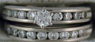 Ladies 1-1/10ctw Platinum and Diamond Wedding Set