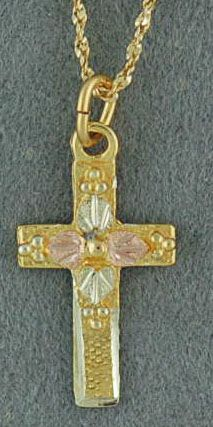 "Black Hills Gold Cross on an 18"" Twist Link Chain"
