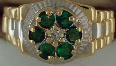 Gentleman's Emerald and Diamond Rolex Ring