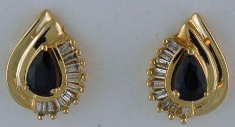 Ladies 1ctgw Pear Sapphire and Baguette Diamond Earrings