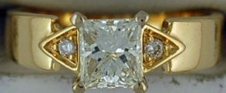 Ladies 1-1/10ctw Princess Cut Diamond Engagement Ring