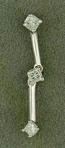 1/4ctw 3 Princess Cut Diamond Drop Pendant