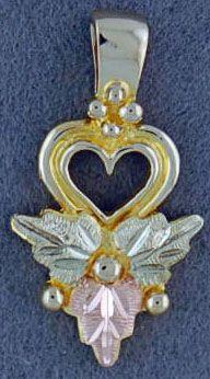 Ladies Black Hills Gold Heart Pendant