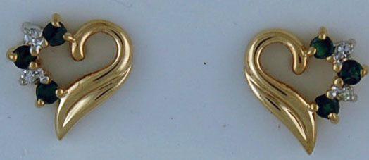 Diamond and Emerald Heart Earrings