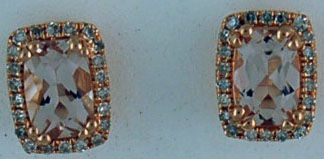 1/5ctdw Morganite and Diamond Earrings