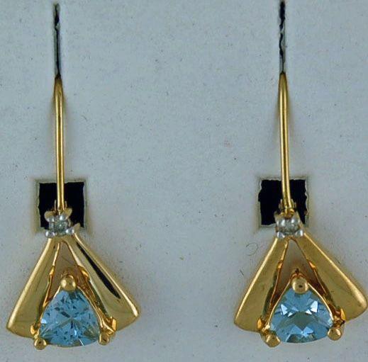 Trillion cut Aquamarine Dangle Earrings
