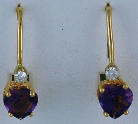 Heart Purple Stone Dangle Earrings