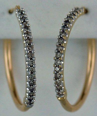 Ladies 1/2ctw Diamond Hoop Earrings