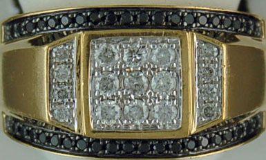 Gentleman's Black and White Diamond Ring
