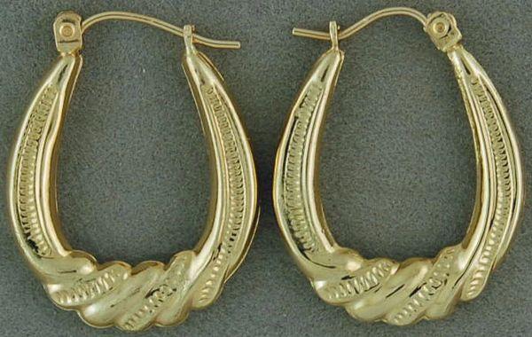 Ladies Twist Style Patterned Hoop Earrings
