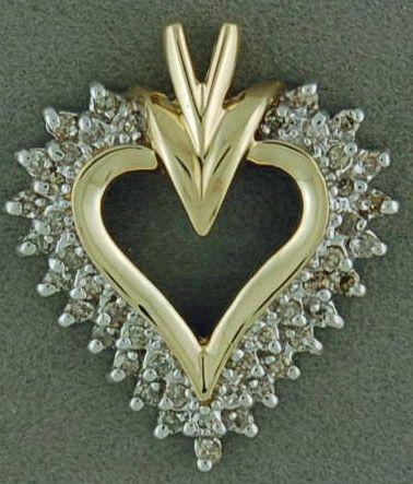 Two-Tone 1/2ctw Diamond Heart Pendant