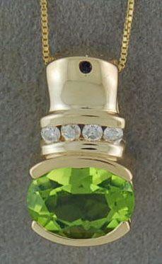"""Peridot and Diamond Pendant on a 16"""" Chain"""