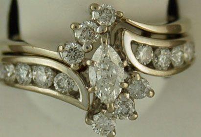 Ladies 1-1/4ctw Marquise Diamond Wedding Set