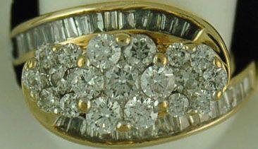 Ladies 1-1/10ctw Triple Cluster Ring