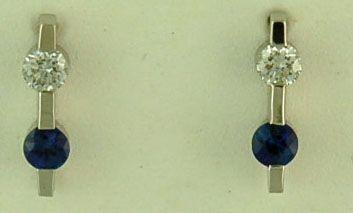 1/4ctgw Diamond and Sapphire Earrings