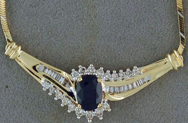 Ladies 1/2ctdw Diamond and Doublet Necklace