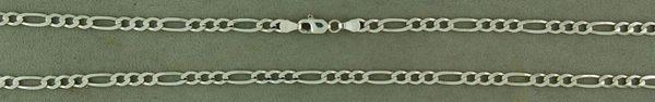 """26"""" White Gold Figaro Chain"""