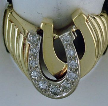 Gentleman's 1/8ctw Diamond Double Horeshoe Ring