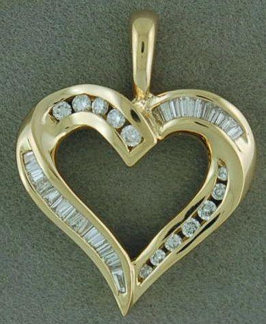 1/2ctw Round and Baguette Diamond Heart Pendant