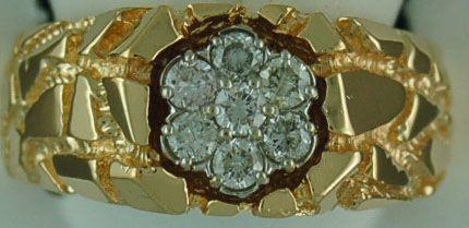 Gentleman's 1/2ctw Diamond Cluster Nugget Ring
