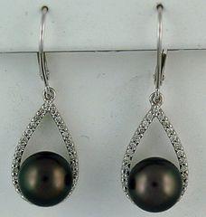 1/2ctdw Black Pearl and Diamond Earrings