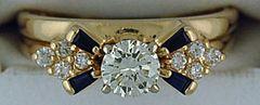 Ladies 3/4ctge Diamond and Sapphire Ring