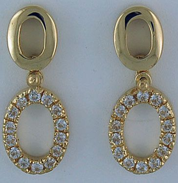 Ladies Diamond Oval Drop Earrings