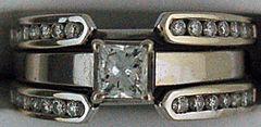 Ladies Princess and Round Cut Diamond Wedding Ring