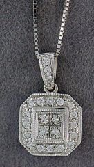 Princess and Round Cut Diamond Pendant on a Chain