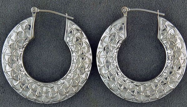 White Gold Patterned Hoops