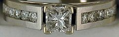 Ladies Princess and Round Cut Diamond Engagement Ring