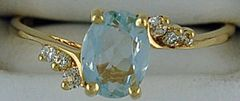 Ladies 1/10ctw Blue Stone and Diamond Ring
