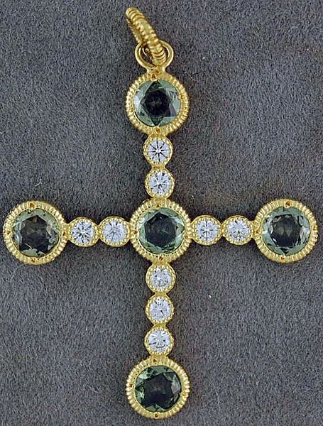 .45ctw Diamond and Green Stone Cross Pendant