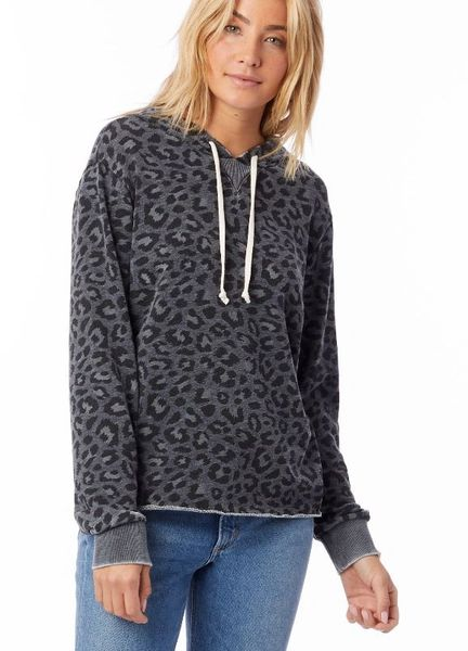 Day Off Leopard Printed French Terry Hoodie and Pant Set