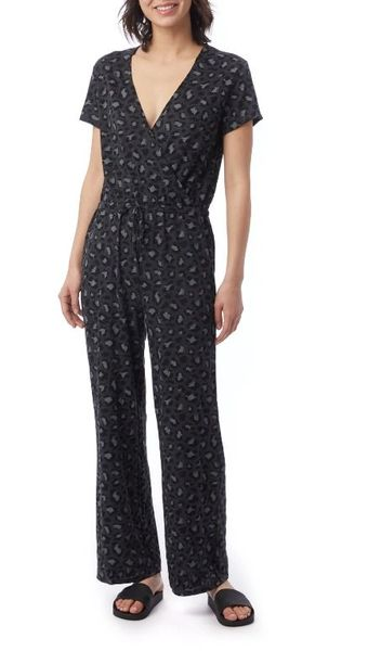 ECO-JERSEY PRINTED CROSS FRONT JUMPSUIT