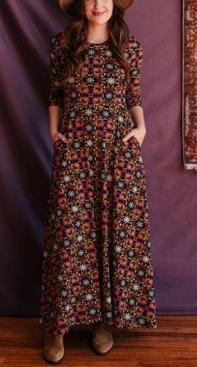 Muambai Maxi Dress Mauve Tile