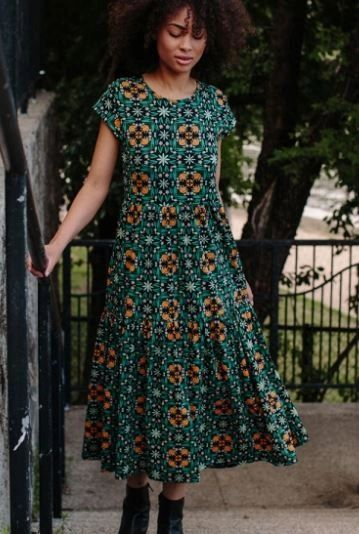 Tiered Jersey Dress Teal Tile