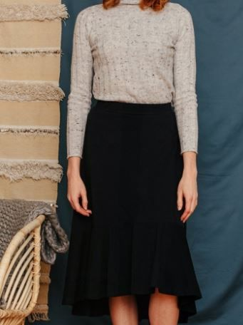 Fatima Flounce Skirt Black Jersey