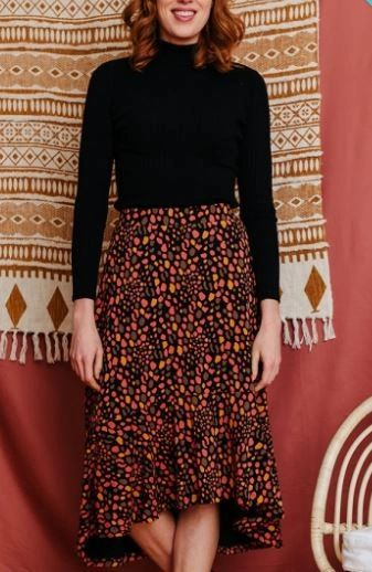 Fatima Flounce Skirt Pink Spots