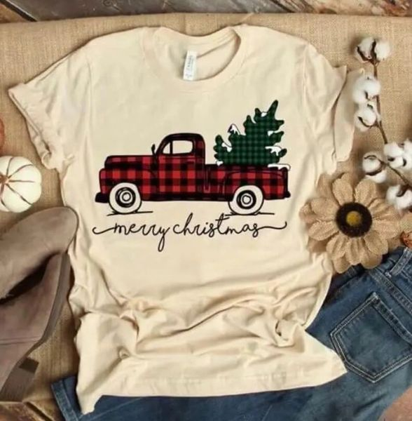 Merry Christmas Plaid Truck Tee