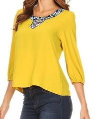 Poise Jewel Tone Embroidered Top- Mustard