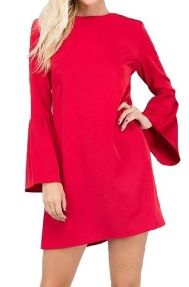 A Redefined Courage Item- Make Traditions Trumpet Sleeve Tunic- Crimson