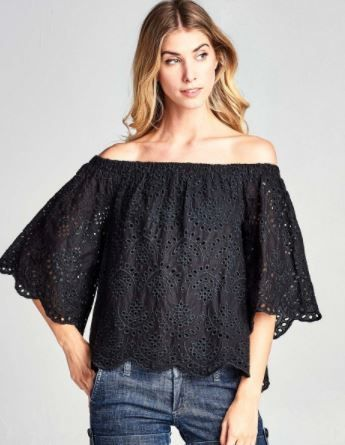 A Redefined Courage Item- Gracey Eyelet Off the Shoulder Top
