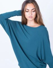Yasmine Tulip Front Knit Top- Teal