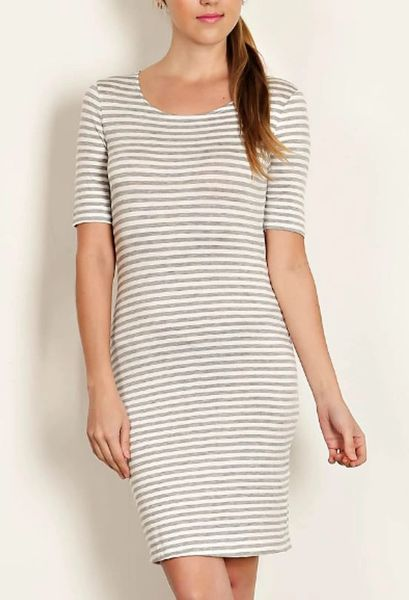 A Redefined Courage Item- Leila Stripe Knit Sheath Dress- Heather Grey