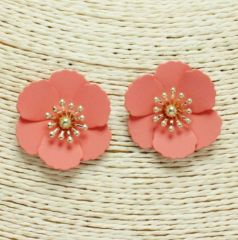 Zuna Floral Barbados Earrings in Coral